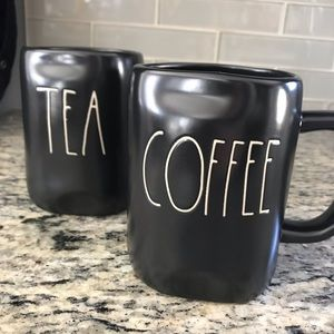 "Rae Dunn mug set ""coffee & tea"" black!"
